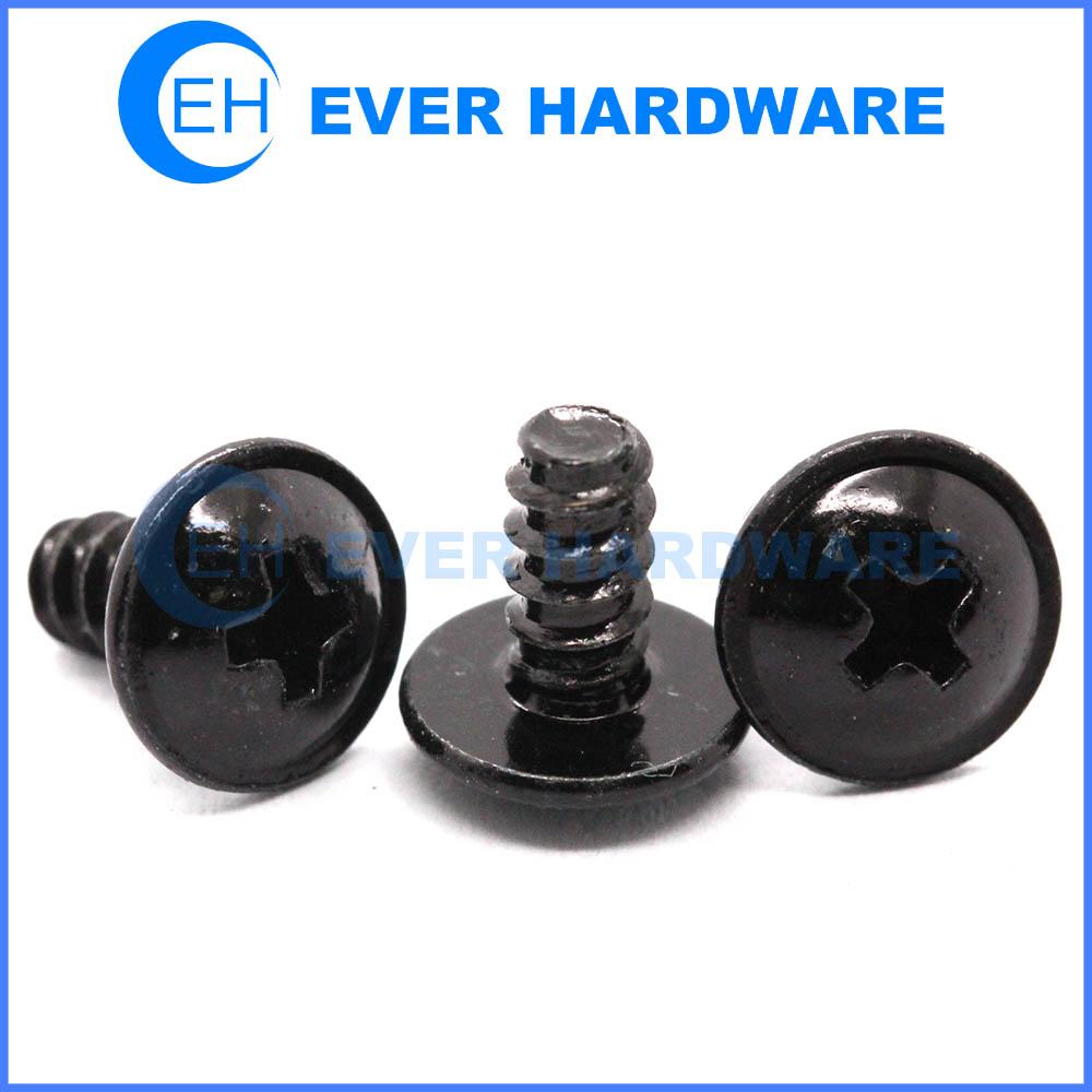 Round Washer Head Screws Black Zinc Plating Screws For Plastic