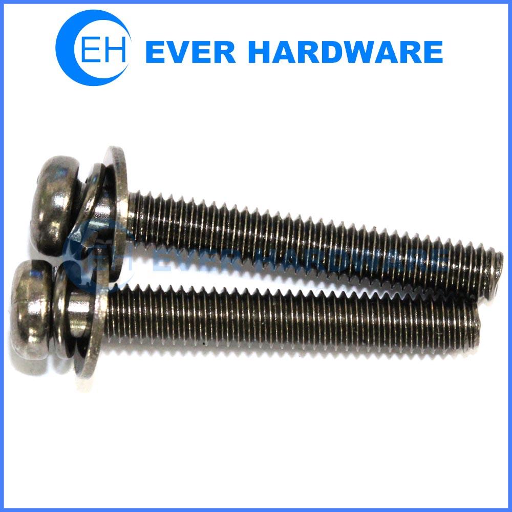 Combination screws black nickel plating cross recessed pan head