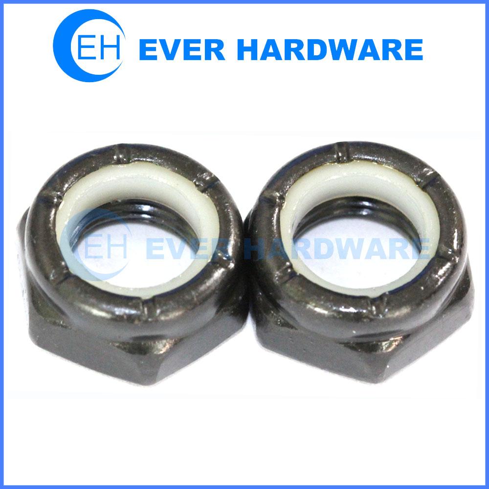 Nylon insert nut nyloc nut black white nylon insert steel high tensile