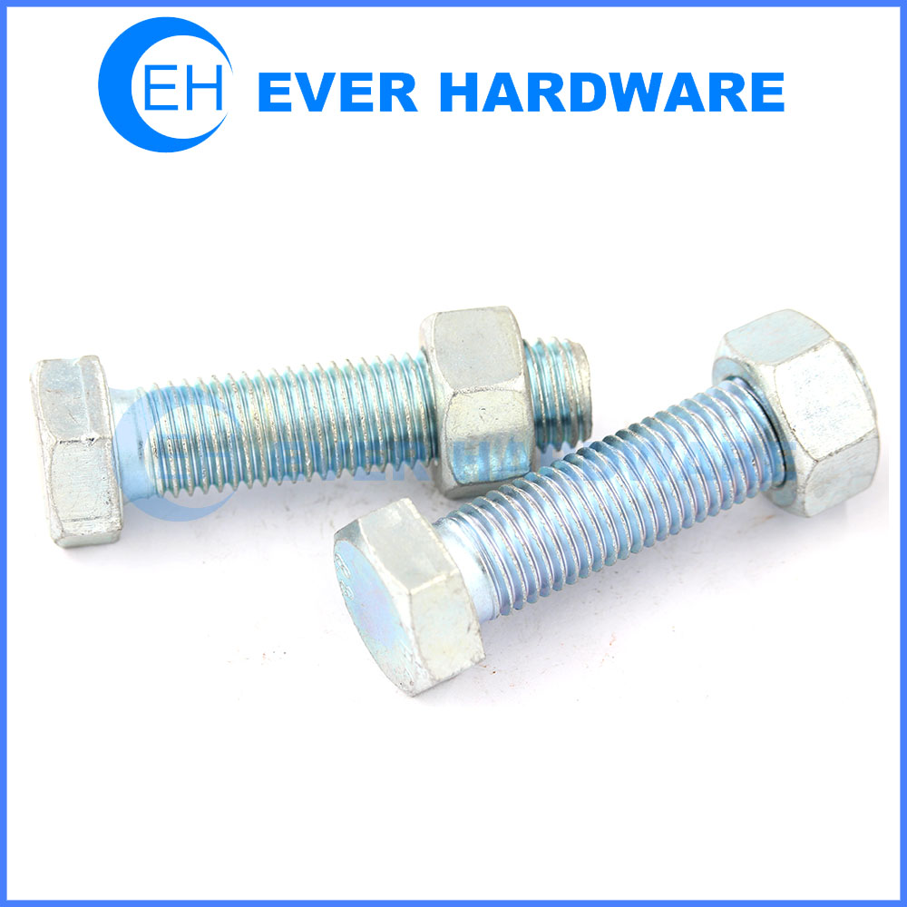Hex bolt nut grade 8 bolts and nuts zinc plating hex bolt and nut supplier