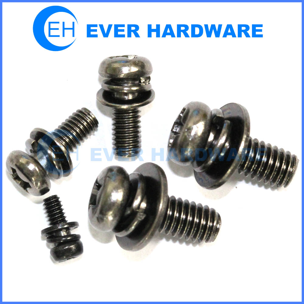 Pan Head Washer Screw Black Nickel Plated Two Washers Attached