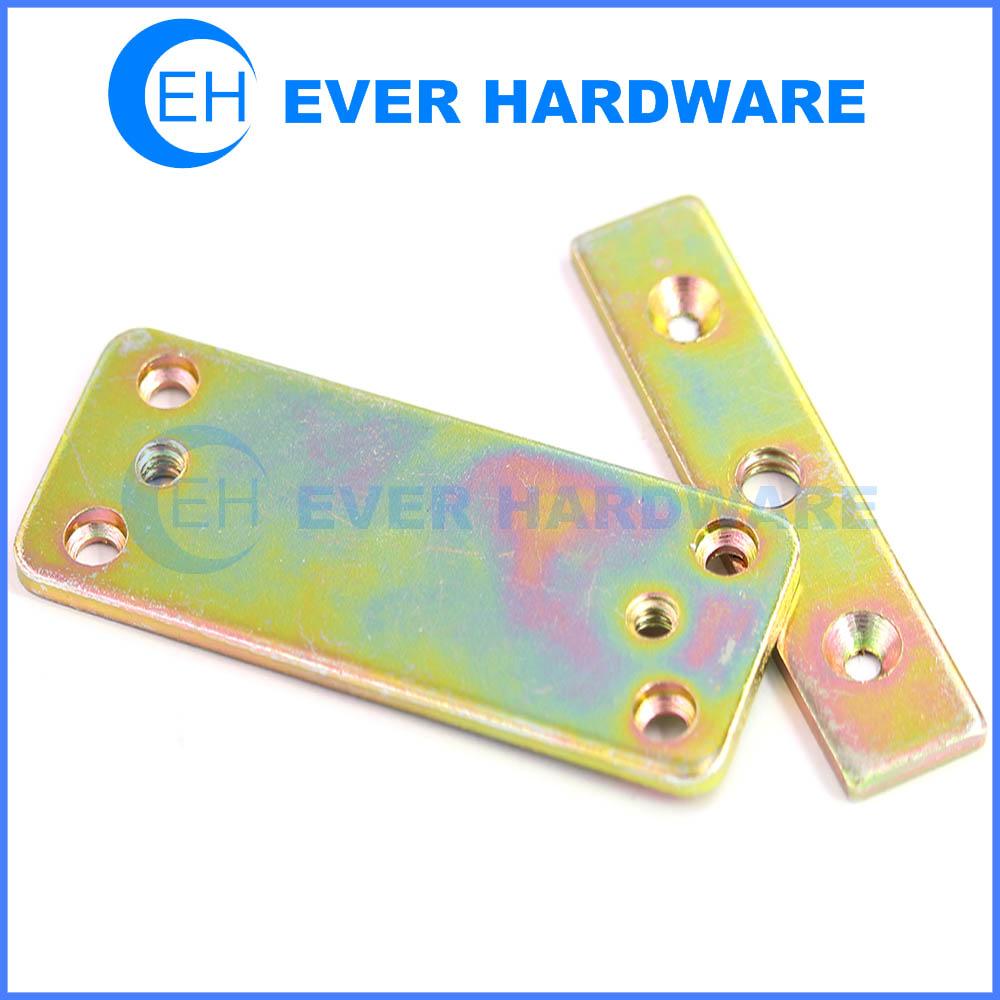 Flat framing bracket yellow zinc plated metal braces for wood timber ...