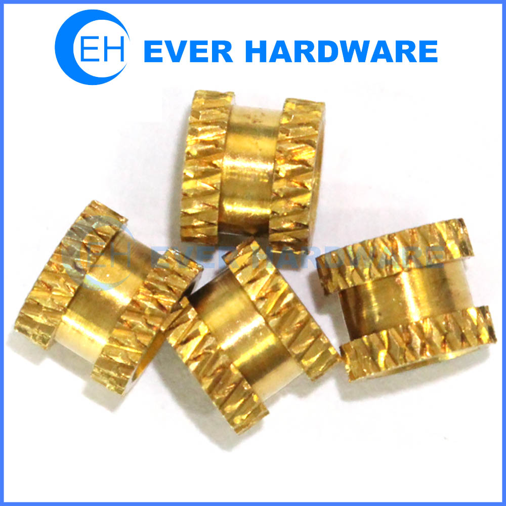 Brass insert nut injection molding embedded knurled female round nuts