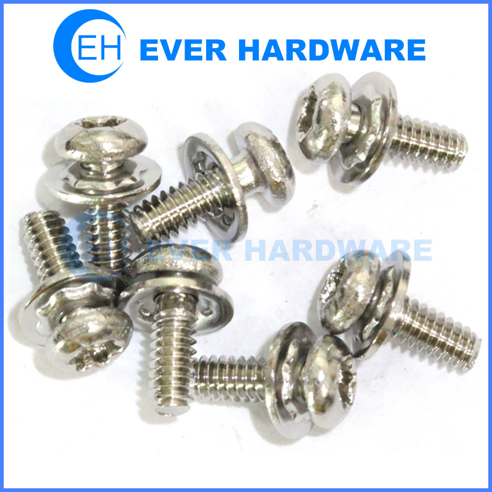 Crest cup washer screw metric machine threaded SEMS fasteners spring washers
