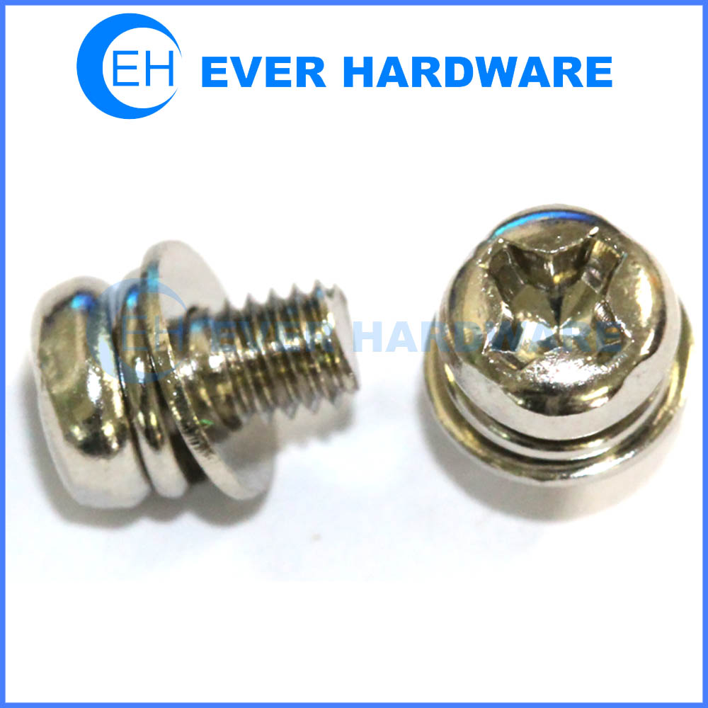 Double washer attached screws cross recessed pan head plain spring