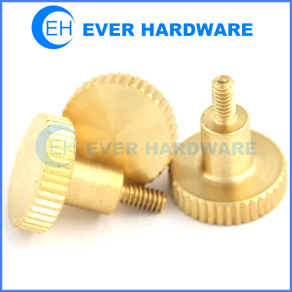 Knurled thumb screw brass captive metric coarse machine threaded