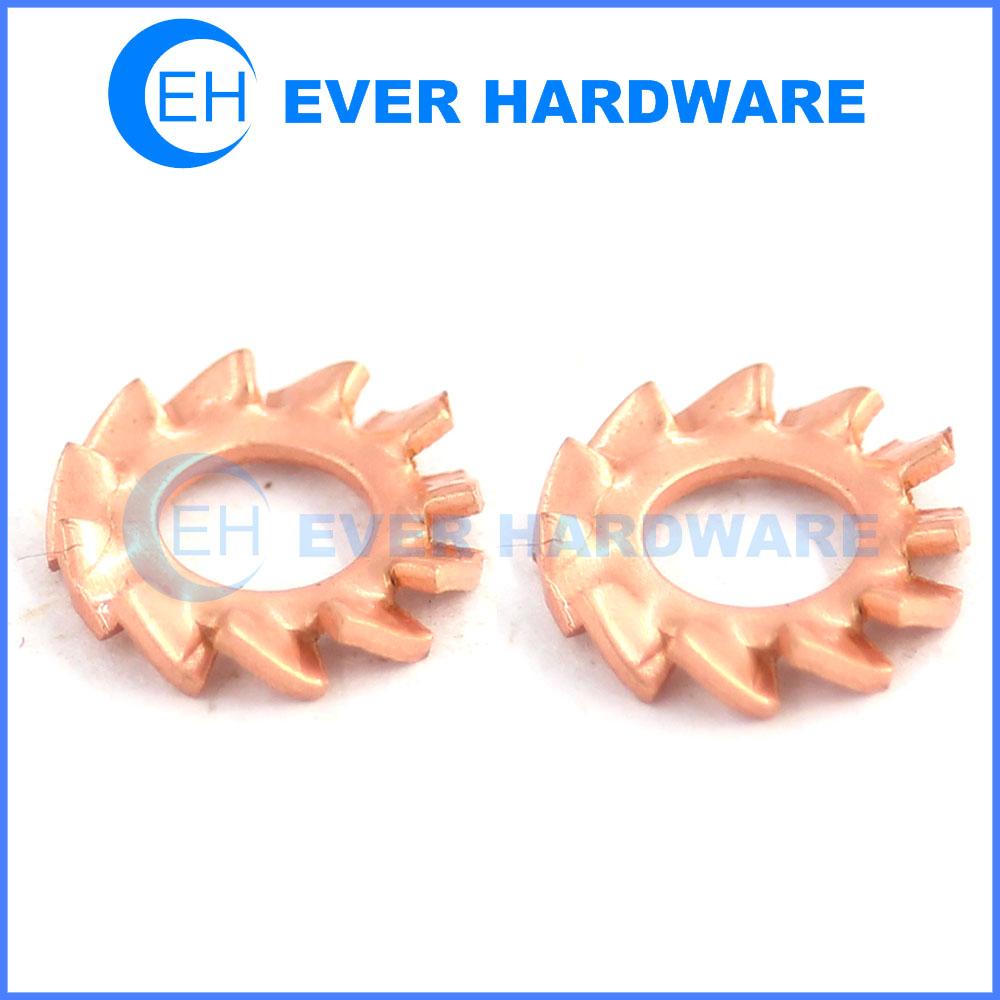 Serrated lock washer external tooth brass locking washers shakeproof