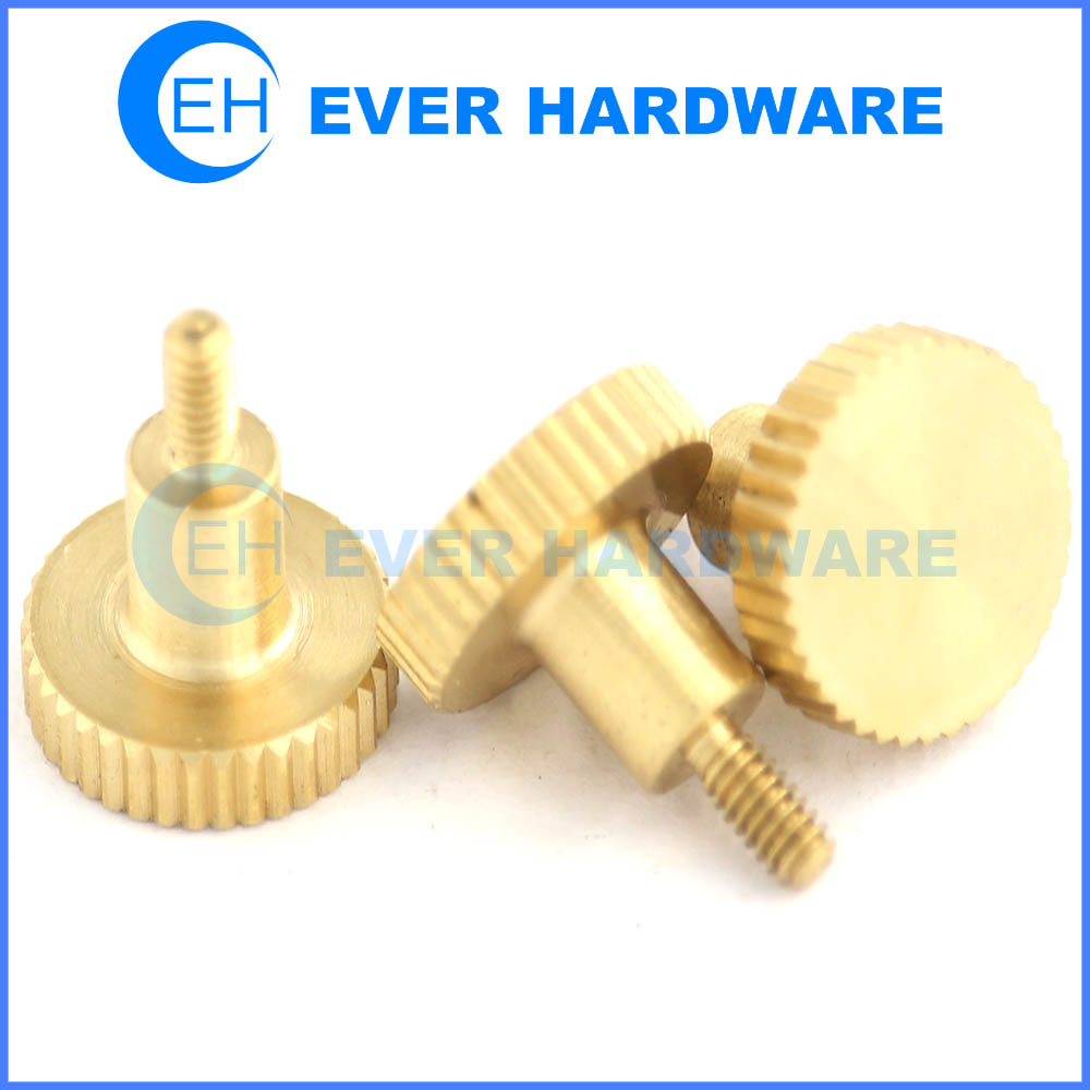 Thumb screw knurled knob machine works brass plain finish flat point