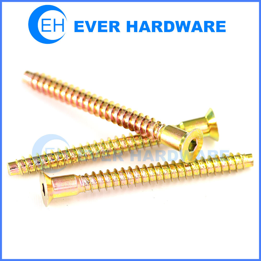 Particle Board Screws Yellow Zinc Coated Confirmat Furniture Assembly