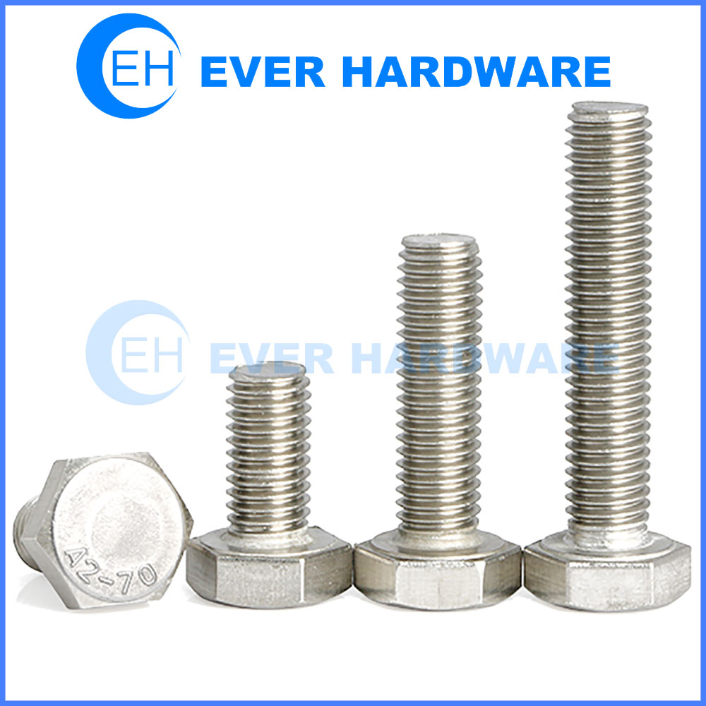 Stainless Steel Hex Bolts Plain Hexagon Head A2-70 DIN933 Fully Thread