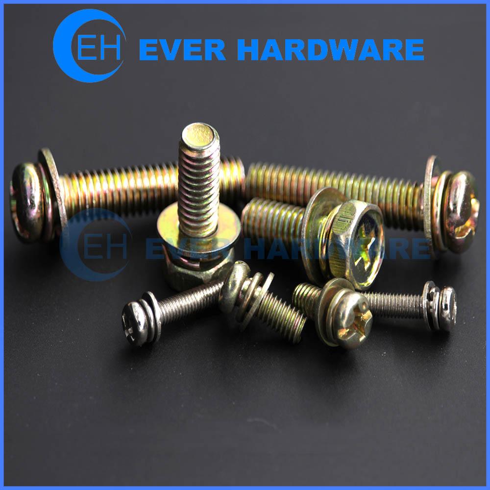 Threaded Washer Fasteners Custom Metric Inch Size SEMS Galvanizing