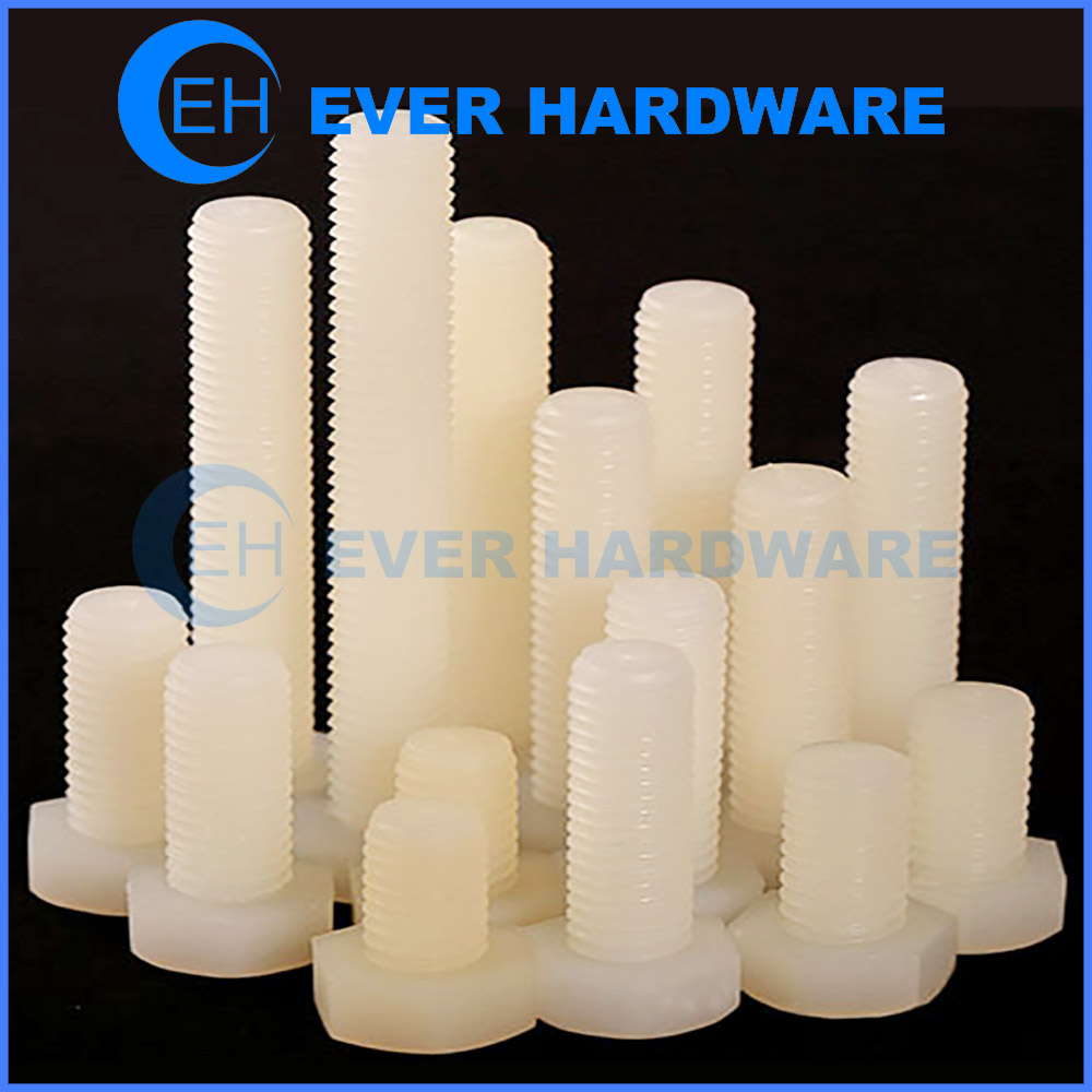 Plastic Screws And Bolts Hex Head Fully Threaded Nylon Fasteners