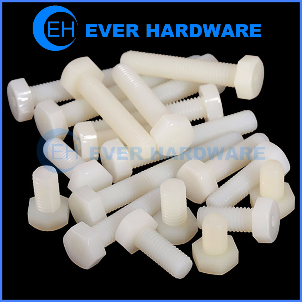 M2 Nylon Screws Plastic Hexagon Bolts White M3 M4 M5 M6 M8 Imperial