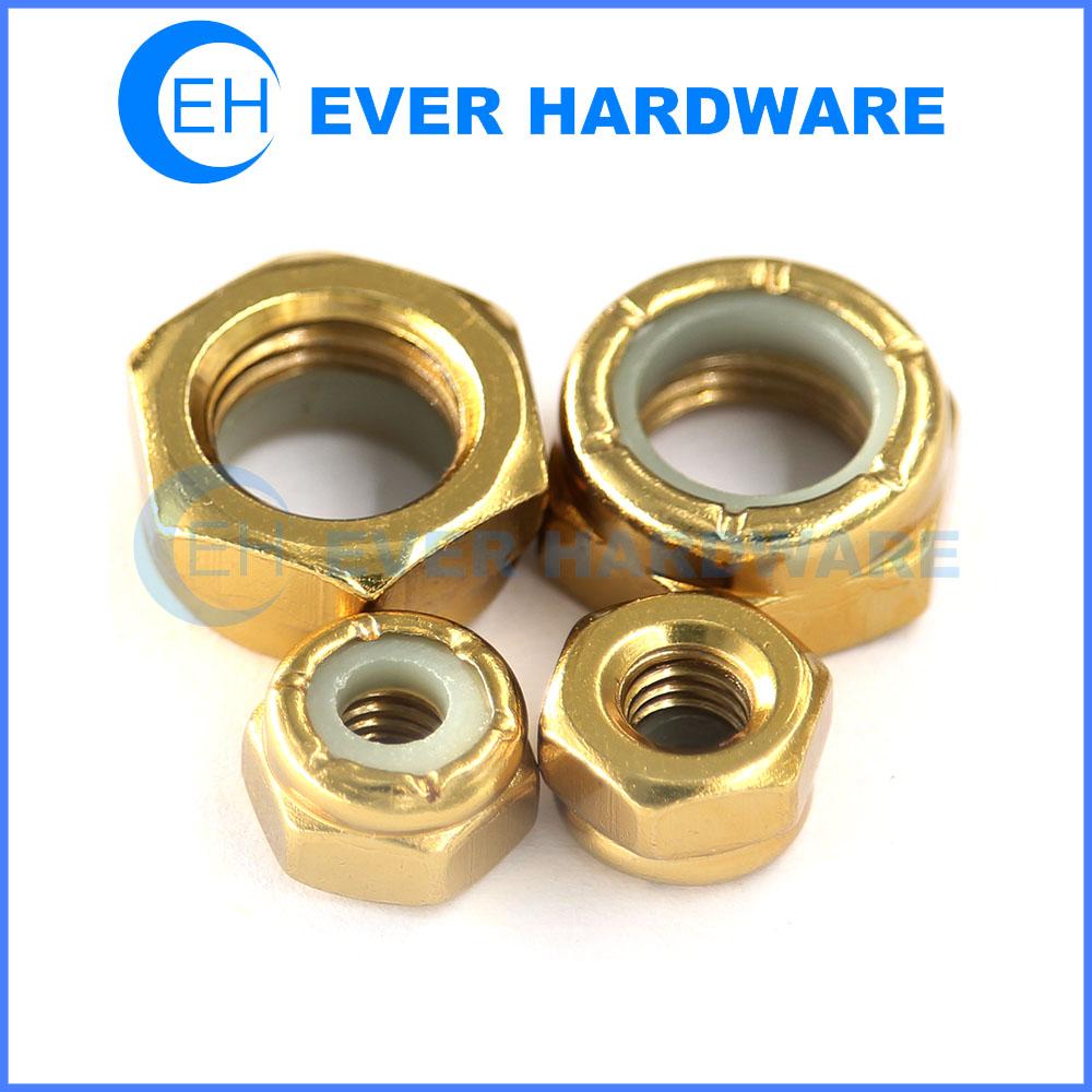 Nyloc Nut Nylon Insert Self Locking Metric Imperial Threaded Golden