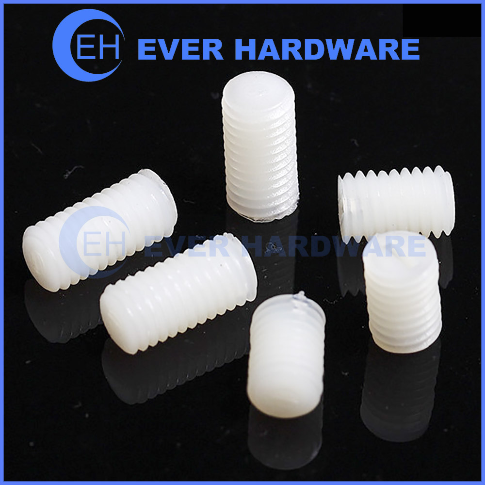 Nylon Grub Screws Slotted Plastic Moulded Natural Cup Point White