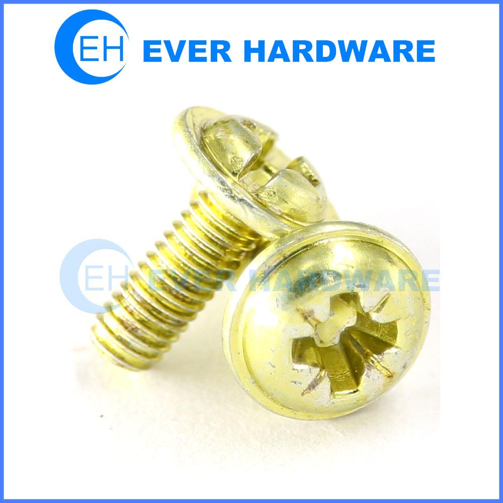 Pozi Screw Brass Round Flanged Head Machine Thread Electrical Bolts
