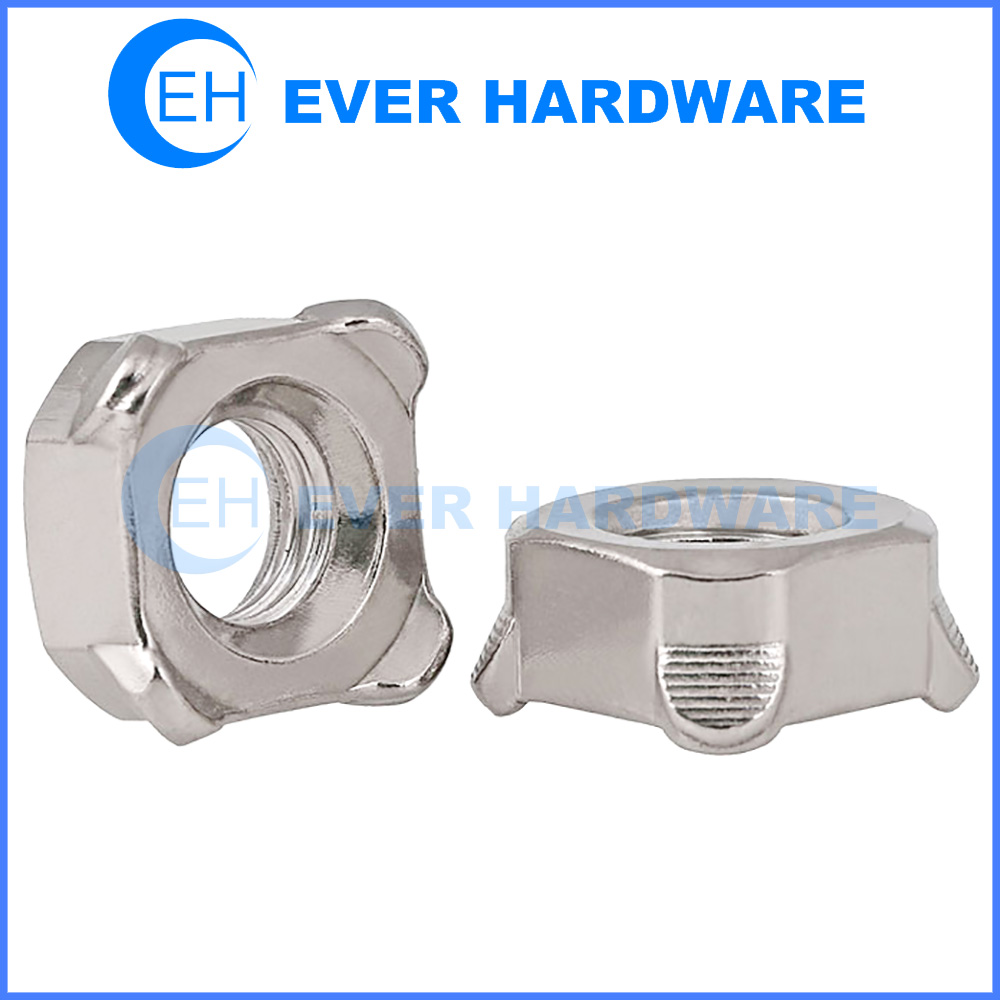 Stainless Steel Weld Nuts Square Metric Thread Chamfered Fasteners