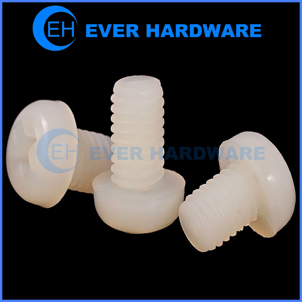 White Plastic Screws Pan Head Machine Threaded Nylon Cross Recessed